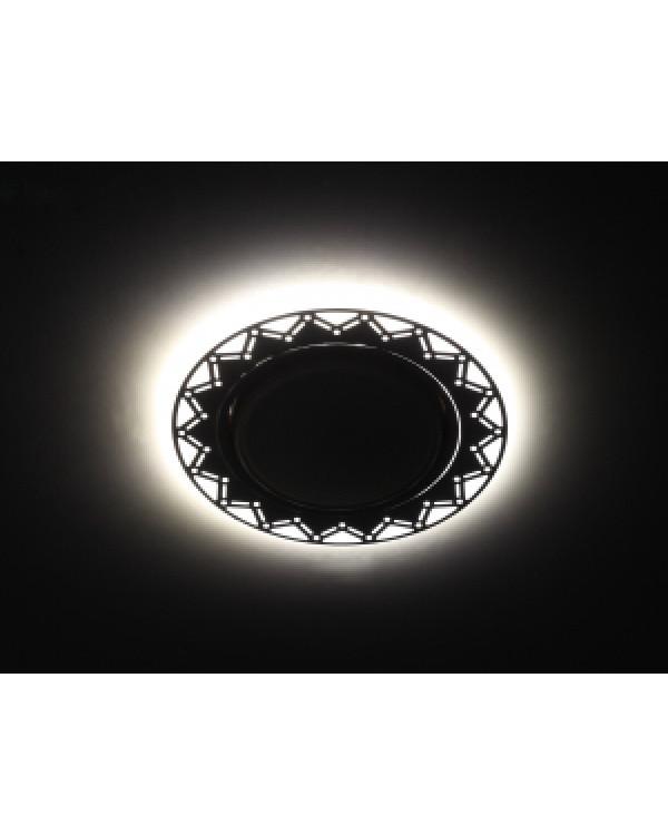 DK LD27 WH/BK Светильник ЭРА декор cо светодиодной подсветкой GX53, белый/черный (30/720)