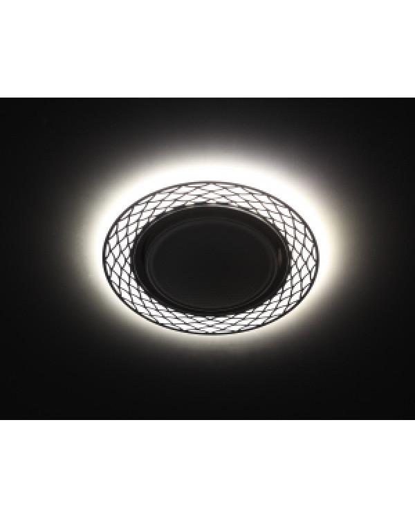 DK LD37 WH/BK Светильник ЭРА декор cо светодиодной подсветкой GX53, белый/черный (30/720), DK LD37 WH/BK