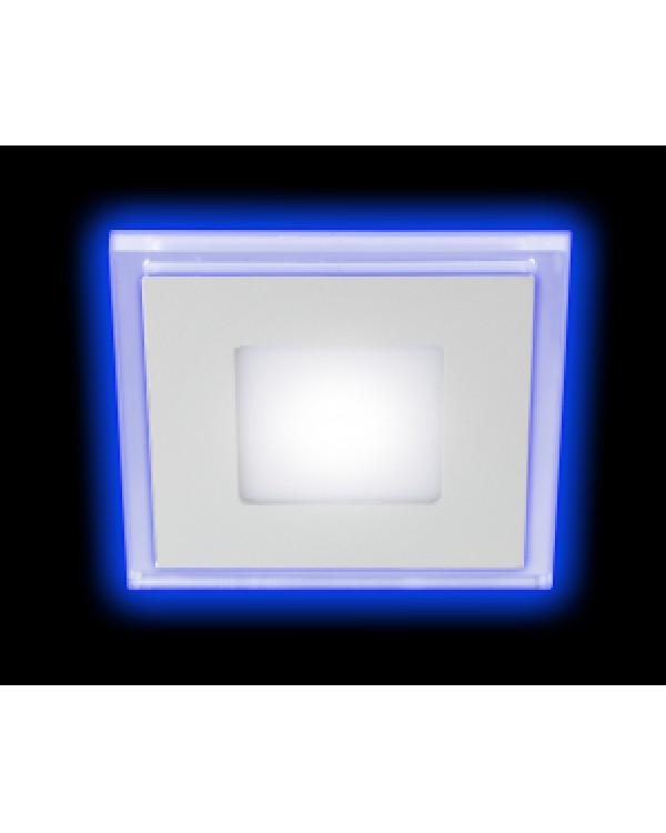 LED 4-9 BL Светильник ЭРА светодиодный квадратный c cиней подсветкой LED 9W 540LM 220V 4000K (40/60, LED 4-9 BL