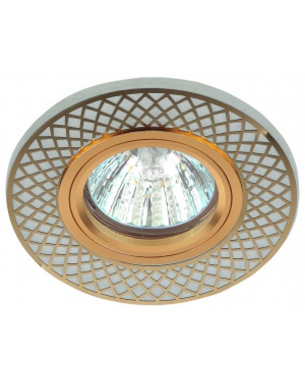 DK LD42 WH/GD Светильник ЭРА декор cо светодиодной подсветкой MR16, белый/золото (50/1750)