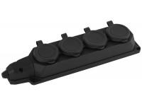 K-4e-B-IP44 ЭРА Колодка каучуковая с/з 4гн 16A IP44 черная (7/70/420)