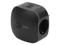 ЭРА Тройник SP-3e-USB-BLACK 3гн 220V + 2xUSB 2100mA, c заземл, со шт (черный) (6/36/720)