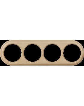 WL15-frame-04 / Рамка на 4 поста (светлый бук)